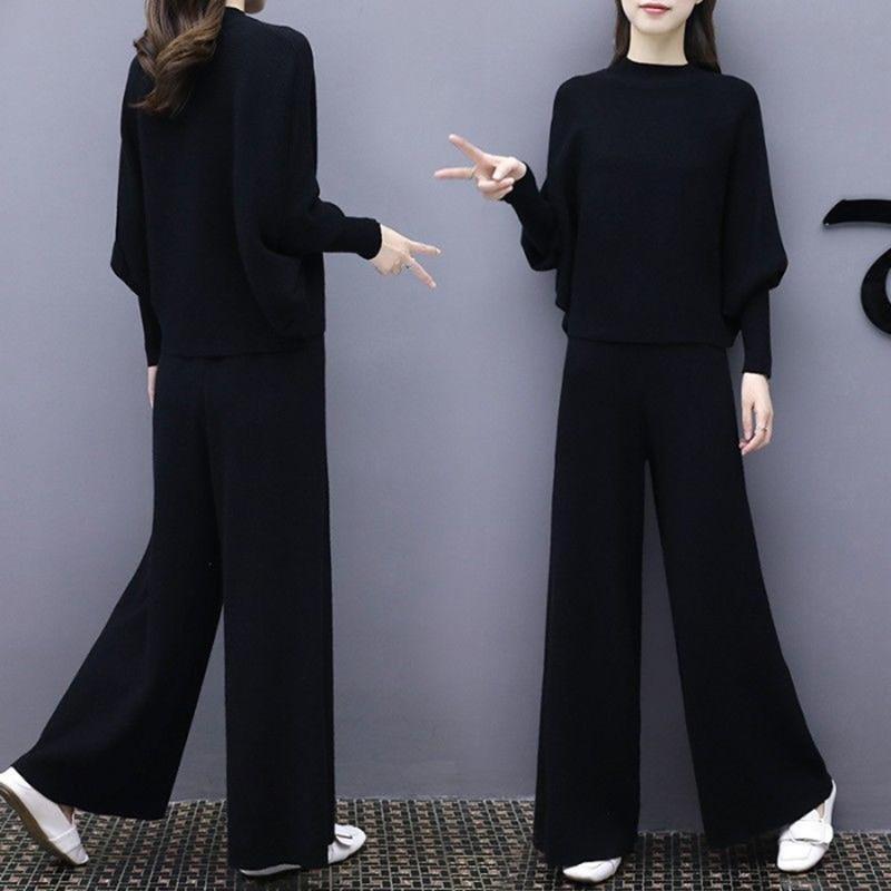 NEW Women Two Piece Long Sleeve Bandage Top Wide Leg Pants Suit Bat Sleeve Knit Wide Leg Pants Loose Fashion Suit Large Size