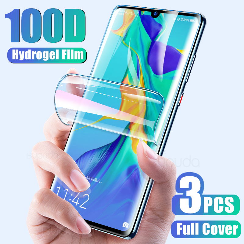 3Pcs 100D Screen Protector For Huawei P30 P20 Pro P Smart 2019 Hydrogel Film For Huawei Mate 20 30 Lite P20 Soft Film Not Glass