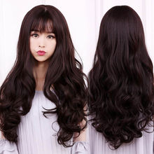 WEILAI Wig women's long hair natural ponytail curly hair long hair bangs women big wave light brown dark brown natural color(China)