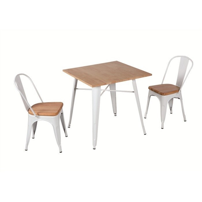 Table TOL, Steel, White, Wood, 80x80 Cms
