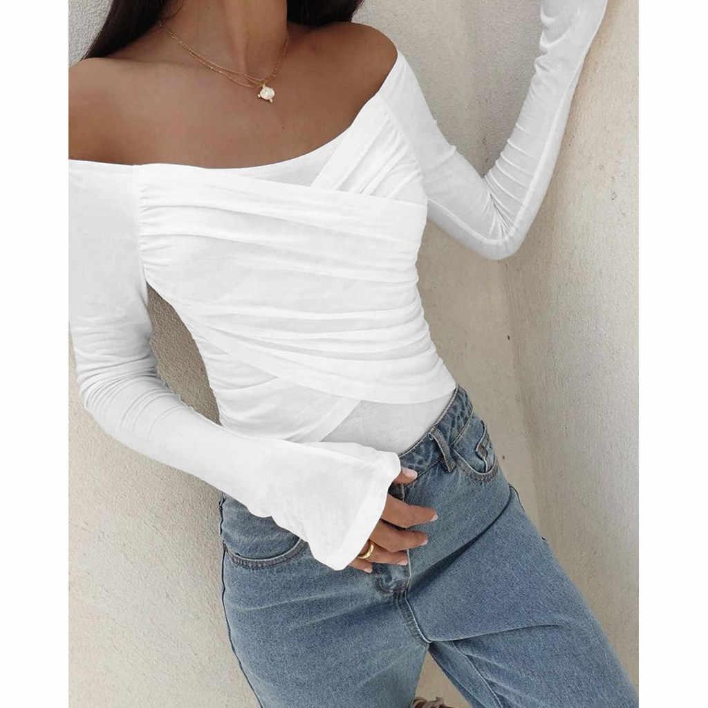 Delle Donne di Modo di Inverno a Maniche Lunghe con Spalle Sexy di Colore Solido Top Remeras Mujer Ropa Mujer Verano Magliette Donna # ss