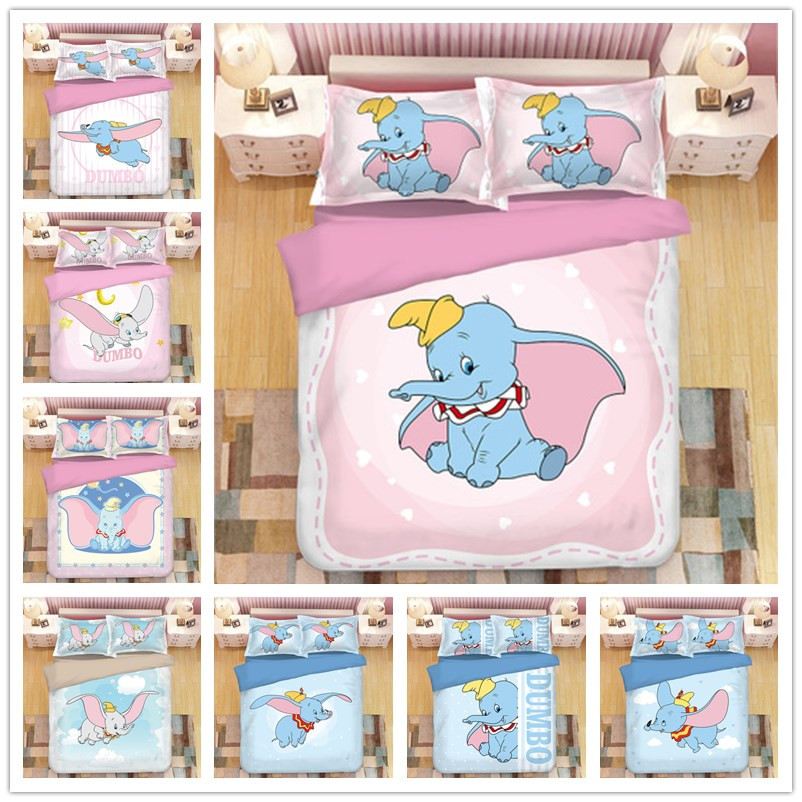 Cartoon Dumbo Bedding Sets Boy/Girls Single Double Twin King Queen Kids Luxury Duvet Cover Set Pillowcases Star Pink Bedclothes
