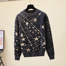 HLBCBG Retro Galaxy Star Pattern Sweater Women Vintage Long Sleeve Jumpers 2020 Autumn Winter Ladies Jacquard Sweaters Pullovers