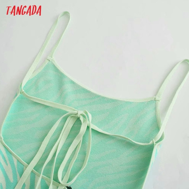 Tangada Women's Summer Dress Zebra Knit Midi Dress Strap Backless Bow 2021 Fashion Lady Dresses 3H764 5