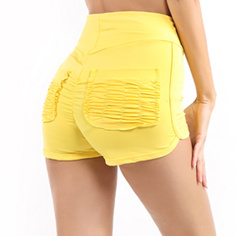 GAOKE Summer Women Shorts Red Yellow Pleated Pocket Hips Casual Shorts Sexy Slimming And Wrinkled Leisure Women's Shorts