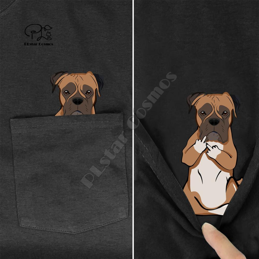 BoxerMiddleHand In Pocket T Shirt <font><b>Dog</b></font> Lovers Black Cotton Men Made in USA Cartoon t shirt men <font><b>Unisex</b></font> New Fashion <font><b>tshirt</b></font> image