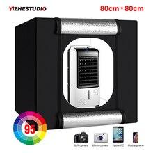 Yizhestudio boîte à lumière LED 80*80 cm grand studio photo boîte 32 pouces pliant boîte à lumière photographie toile de fond kit de tente de tir