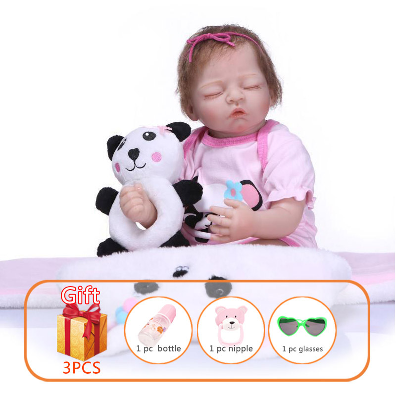 NPK 50cm Reborn Baby Doll Soft Silicone Reborn Baby Dolls Warm Panda Ring Sleeping Angel Reborn Toddler Toys For Children
