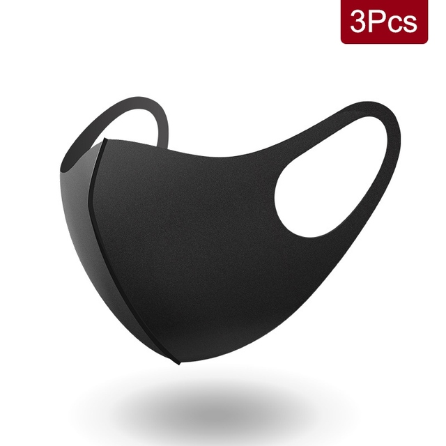 3PCS Washable Anti-Dust Mask Black Cycling Mouth Face Respirator Mask For Adults