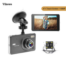 "Vikewe 4 ""Dual Lensa Dash Cam Perekam FHD 1080P Mobil Dvr Layar Sentuh IPS Video Registrator Parking Monitor dengan Kamera Belakang(China)"