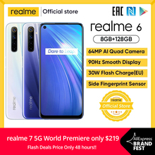 realme 6 8GB RAM 128GB ROM Global Version Mobile Phone 90Hz Display Helio G90T 30W Flash Charge 64MP Camera 4300mAh Cellphone