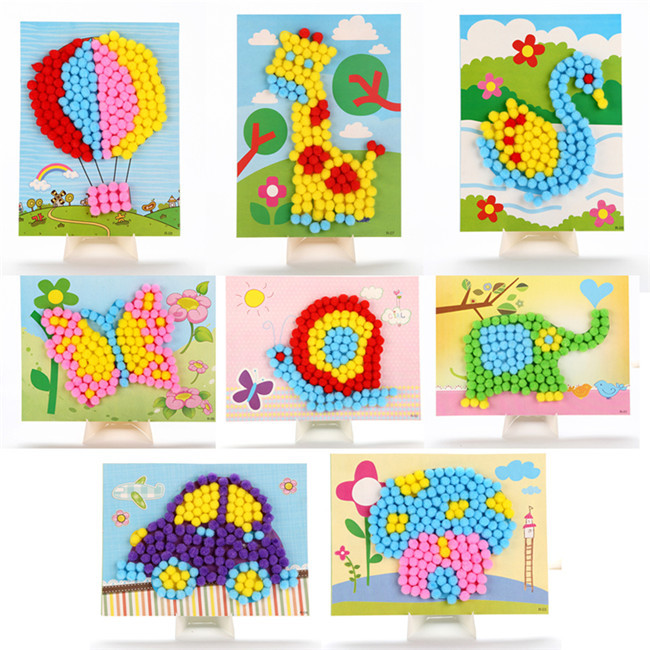 Actionbabei New Hair Ball Painting Manual Stereo Sticker Make Diy Material Packs Children Activities Educational Toys