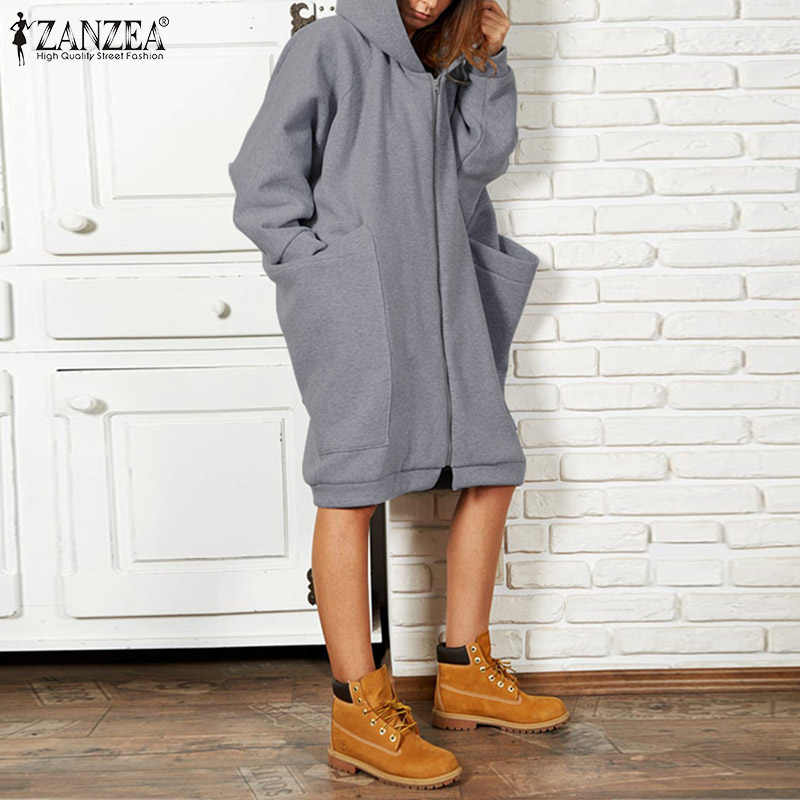 ZANZEA Plus Größe 5XL frauen Sweatshirt Casual Hoodies Winter Weibliche Lange Hülse Mäntel Große Taschen Sweatshirts Zipper Up Outwear