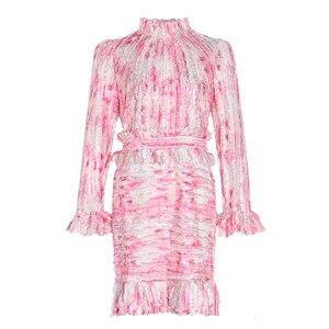 Image 3 - TWOTWINSTYLE 패치 워크 프릴 인쇄 Ruched 여자의 드레스 스탠드 칼라 퍼프 슬리브 높은 허리 드레스 여성 패션 의류