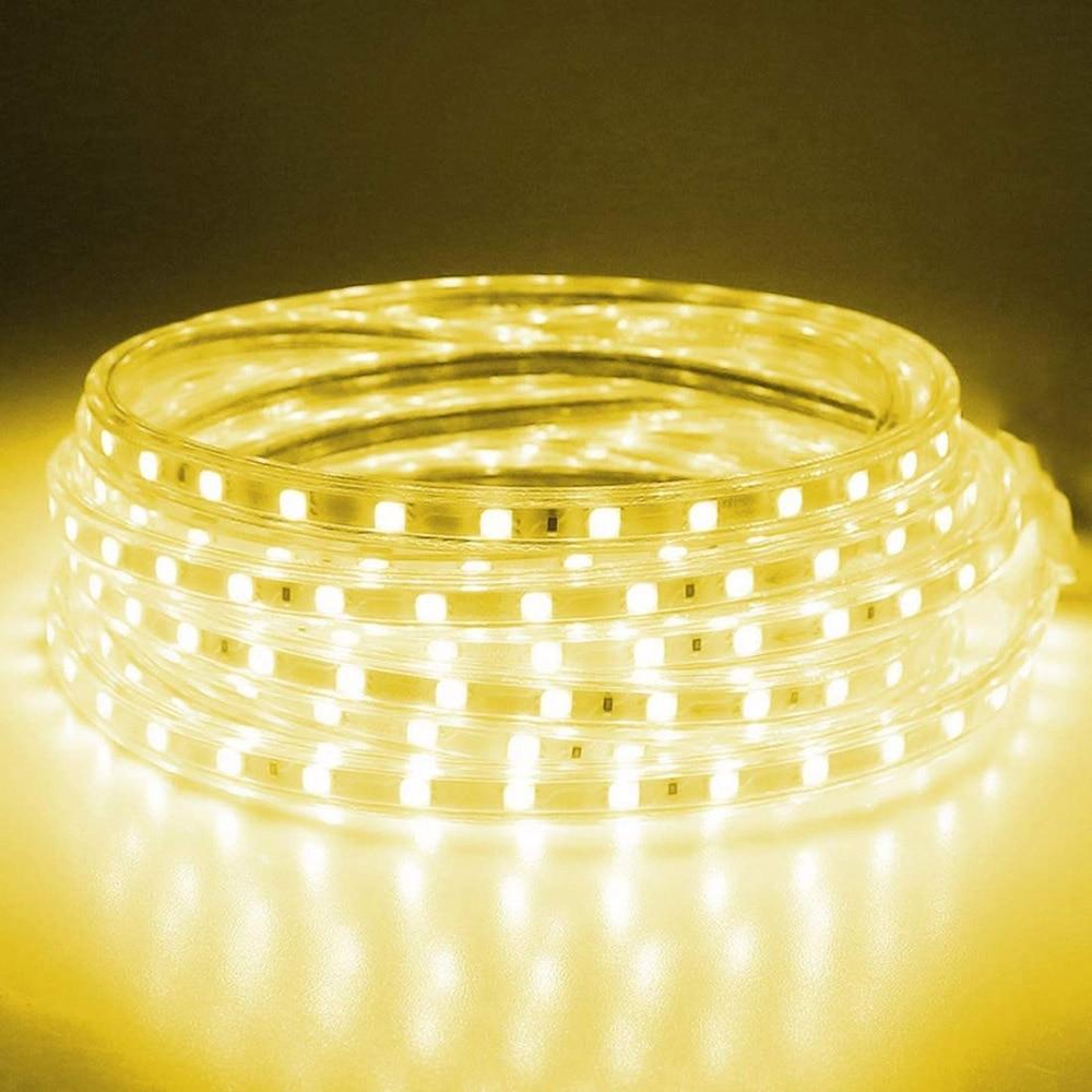 Bande lumineuse étanche, 60 220 s/m, ruban 5050 avec prise d'alimentation européenne, 1M/2M/3M/5M/6M/8M/9M, LED V LED ruban LED/10M/15M 3