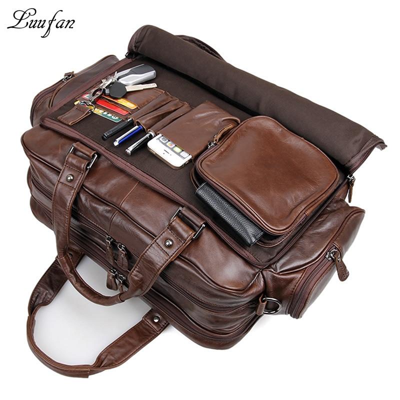 "Men s genuine leather briefcase 16 Big real leather laptop tote bag Cow leather business bag Men's genuine leather briefcase 16"" Big real leather laptop tote bag Cow leather business bag double layer messenger bag"