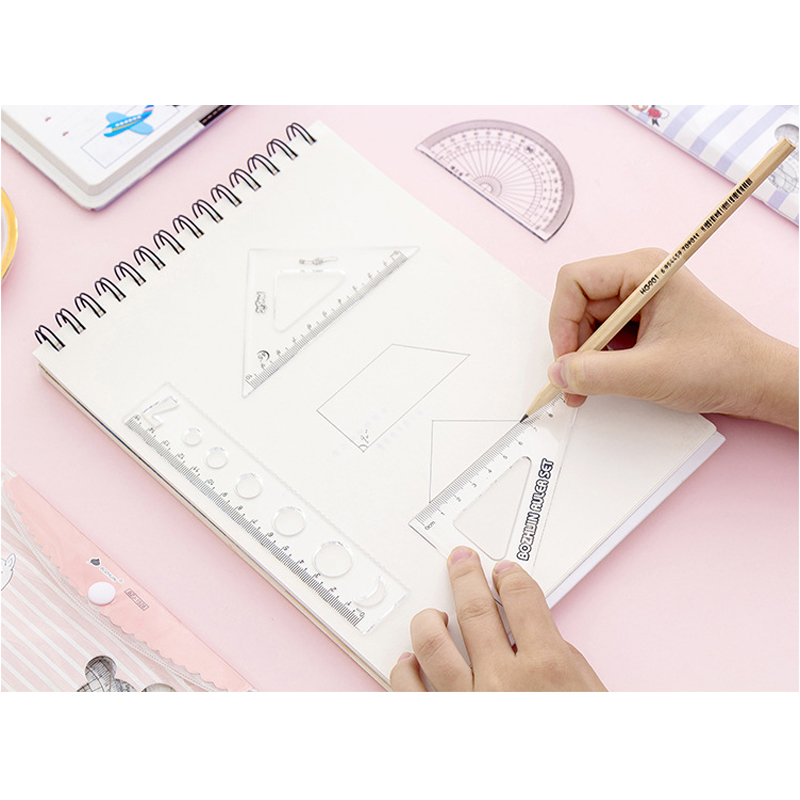 10packs/lot Lovely Cartoon Student Drawing School Supplies Square Triangle Ruler Cartoon Hippo  Set Ruler