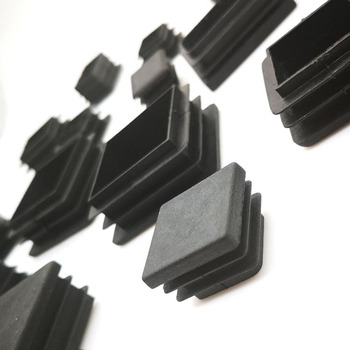 200pcs Black Plastic Blanking End Caps Square Pipe Tube Cap Insert Plugs Bung For Furniture Tables  Chairs Protector