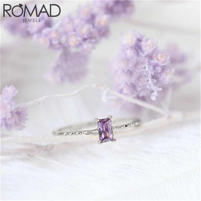 ROMAD Dainty Square Zircon Ring Elegant Purple Rectangle Crystal Rings for Women Girls Simple Wedding Band Engagement Ring Gifts