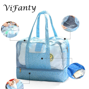 Image 3 - Beach Bag   Toy Tote Bag, Mesh Beach Bag, Large Lightweight Grocery, Market & Picnic Tote with Oversized Pocket