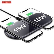30w qi carregador sem fio para iphone 11 pro x xs 8 dupla 15 rápida almofada de carregamento sem fio para samsuang huawei xiaomi 2.5d vidro