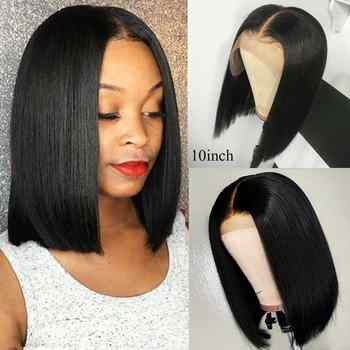 Sunber Straight Short Lace Front Human Hair Wigs Pre Plucked With Baby Hair Brazilian Remy Hair Bob Wig 8-14Inch Free Shipping - DISCOUNT ITEM  44% OFF All Category