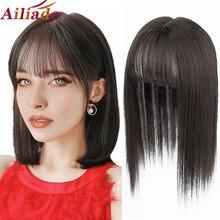 Ailiade longa reta cabelo franja de ar preto cabeça superior fechamentos hairpins sintético resistente ao calor do cabelo topper clip em extensões