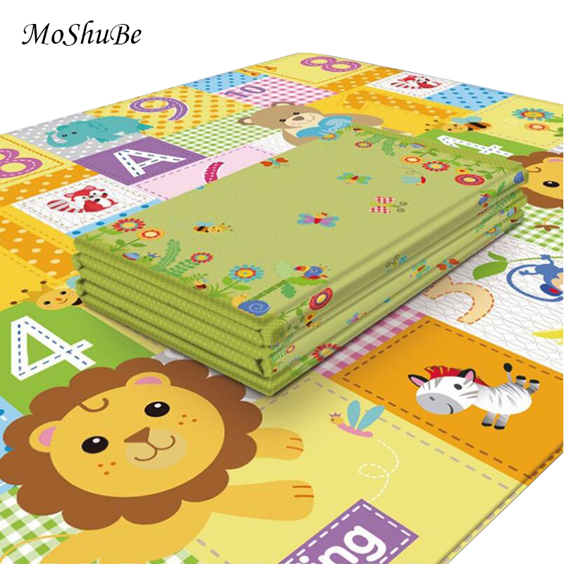 Cartoon Baby Play Mat 180*100*1CM Anti-slip Kids Rug Waterproof Thick Soft Floor Foldable Children Living Room Crawling Mat