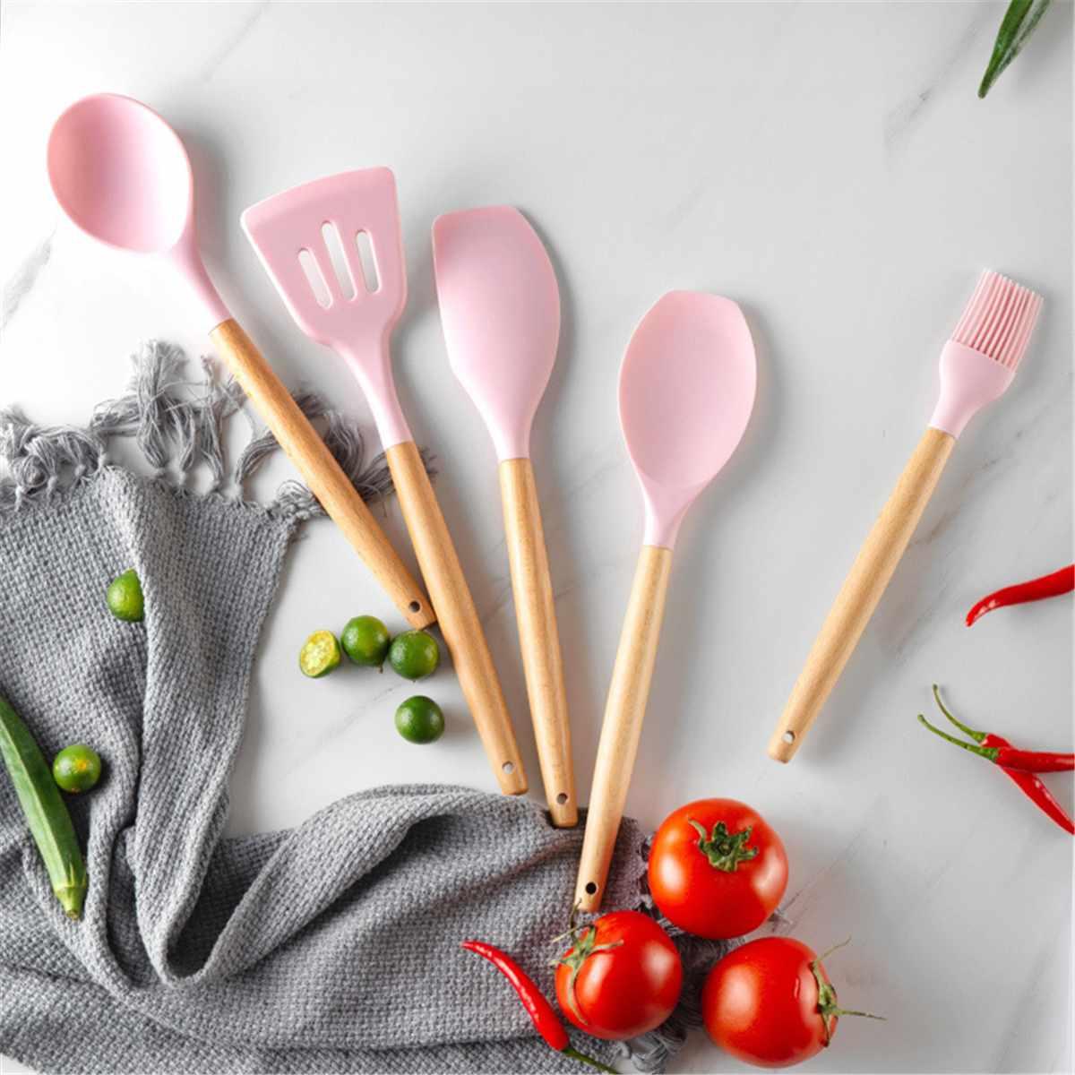 11 pçs conjunto de utensílios de cozinha de silicone antiaderente pá de espátula de madeira lidar com ferramentas de cozinha conjunto com caixa de armazenamento ferramentas de cozinha novo - 4
