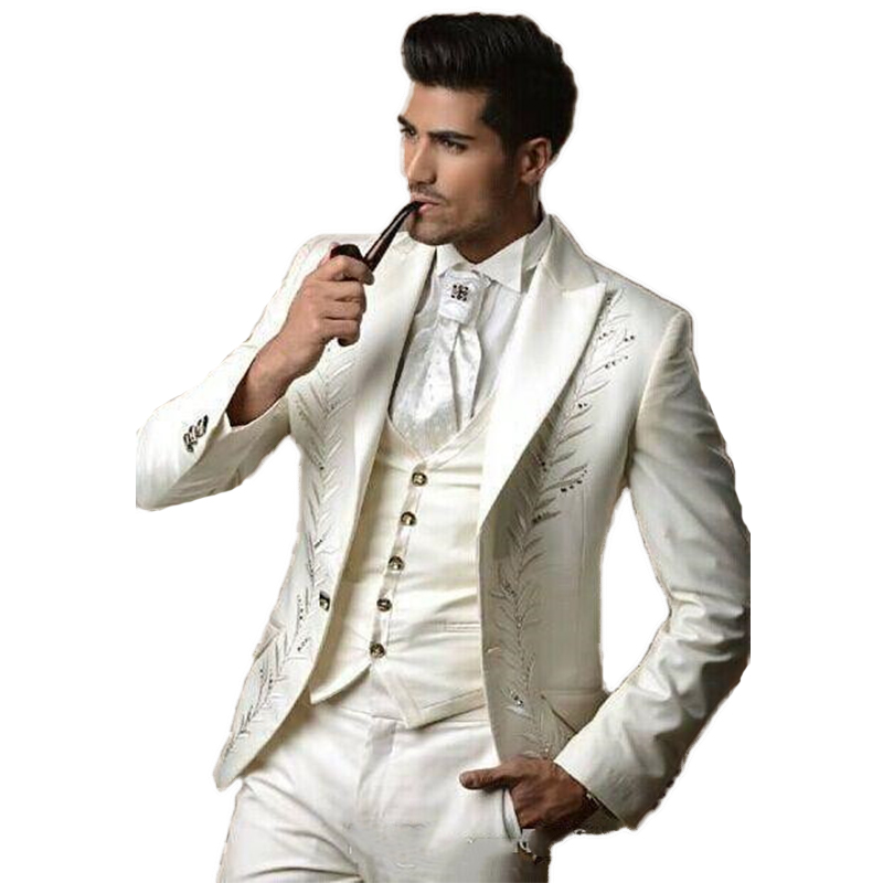 Fashion White Mans Suit For Wedding Evening Dress Party Prom Dress  Best Man Wear Groom Wear Three Piece Suit(Jacket+Pants+Vest)
