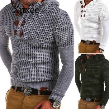 Wool Sweater Men Sweaters Pullover Long Sleeve Half-Zipper Sweater Jumper Knitwear Winter Cashmere For Mens Outerwears Cool цена 2017