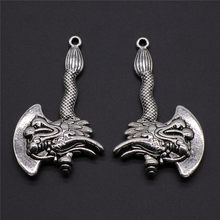 2Pcs/Lot Jewelry Making DIY Handmade Craft Charms Antique Silver Color 32x53mm Viking Faucet Ax Pendant(China)