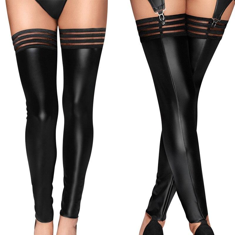 Womens Plus Size Shiny Wet Look Black Fishnet Thigh High Stockings