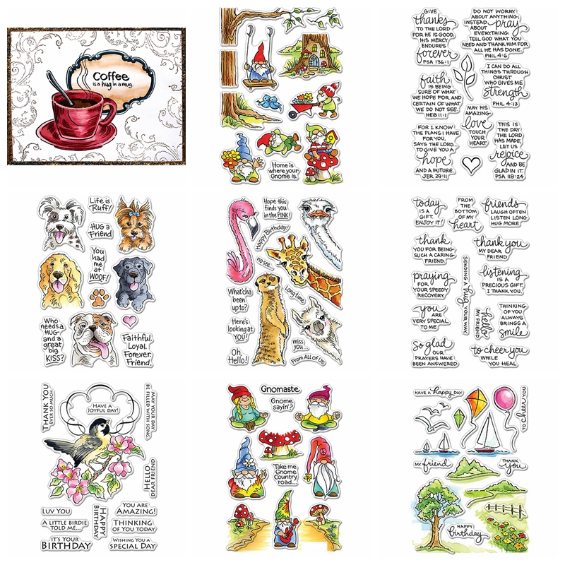 Gnomes Scene Animals Wine Coffee Thanks Sentences Cutting Dies And Stamps