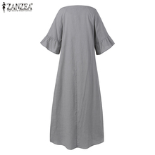 Women Dress ZANZEA Summer Solid Bohemian Ruffles Short Sleeve Midi Sundress Casual Loose V-Neck Holiday Vestidos Robe Femme 5XL