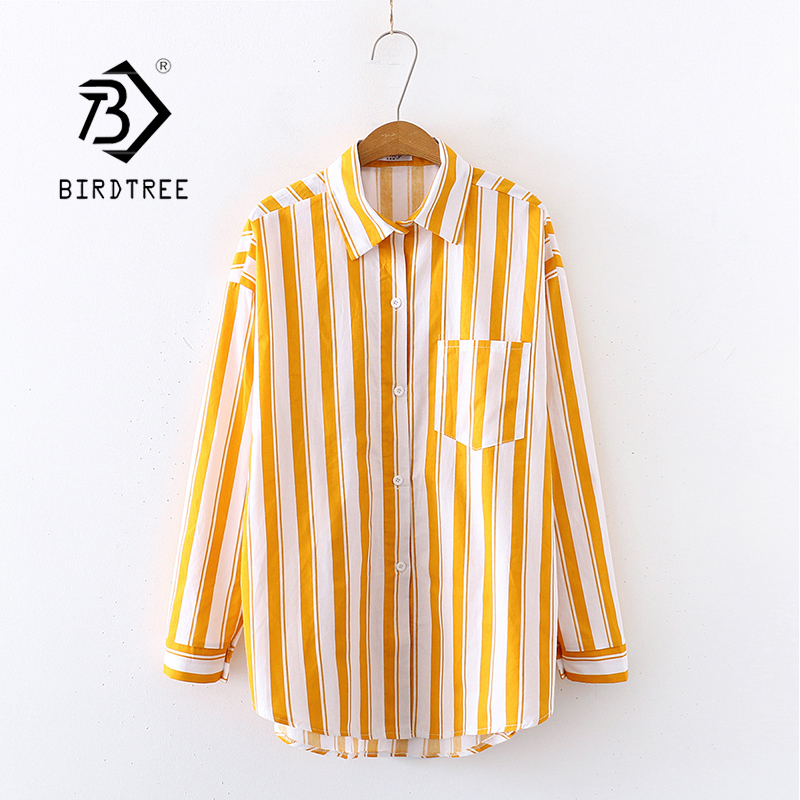 2020 New Arrival Women Yellow Striped White Shirts Autumn Long Sleeve Vintage Shirt Loose Tops Casual Blouse Feminina Blusa T032