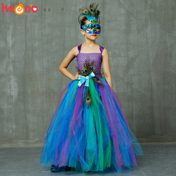 High-end Girls Peacock Princess Tutu Dress with Mask Flower Feathers Girl Ball Gown Dresses Tulle Kids Party Pageant Costume glittery unicorn princess pageant flower girl tutu dress kids party costume with headband and wings halloween cosplay girl dress
