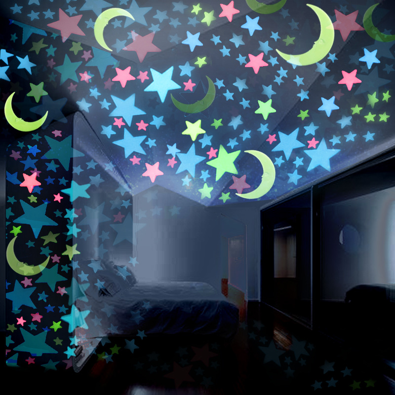 100pcs Luminous Glow in the Dark Toys Luminous Star Moon Stickers Bedroom Fluorescent Painting Toy PVC Stickers for Kids Room
