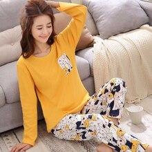 Пижама женская комплект теплая пижама для женщин новые пижамы с рисунком из мультфильма домашний костюм с рисунком Женская милая домашняя одежда с длинным рукавом Sleepwear