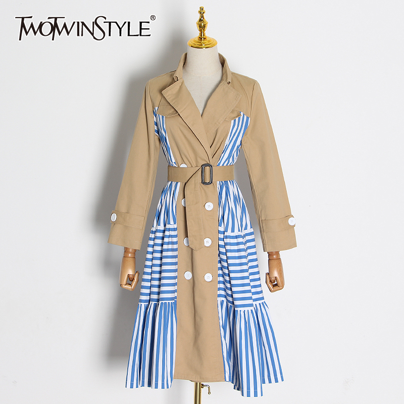 TWOTWINSTYLE Casual Patchwork Striped Trench Coat Female Lapel Collar Long Sleeve High Waist Lace Up Windbreaker Women 2020 Tide