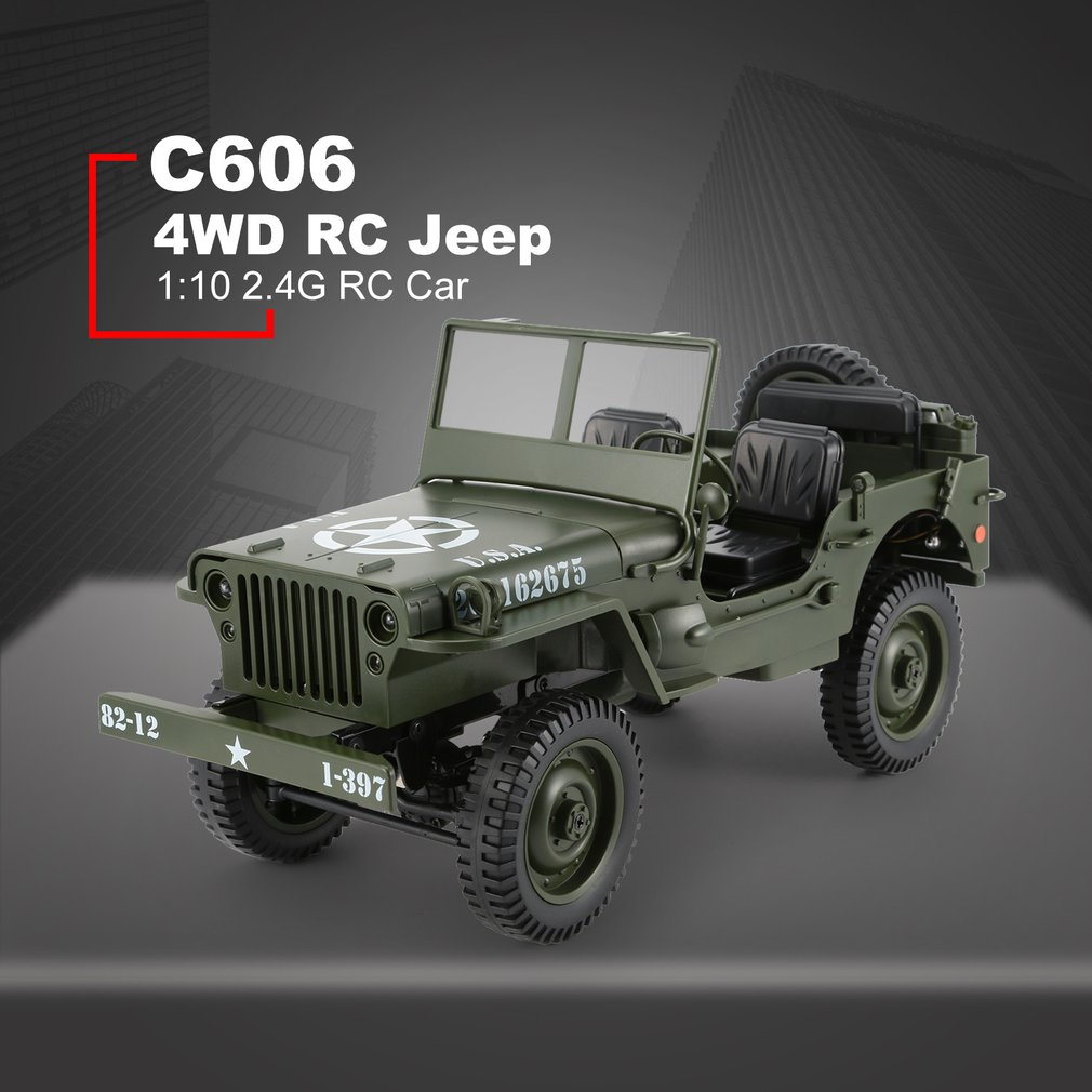 2019 C606 1:10 RC Car 2.4G 4WD Convertible Remote Control Light Jeep Four-Wheel Drive Off-Road Military Climbing Car Kid Gift