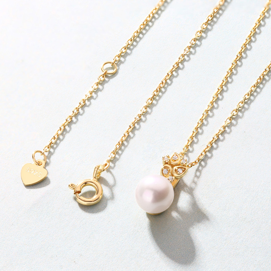ALLNOEL Real 925 Sterling Silver 100% Real Pearl The Combination zircon Design Necklace Wedding Jewelry Gift For Women  2019 NEW (6)