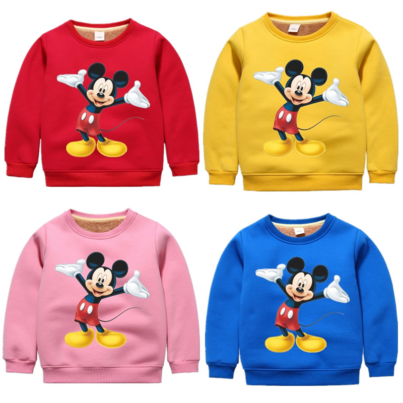 Girls Sweatshirts Mickey Kids Clothes Printed Fleece Toddler Cartoon Autumn 2-7yrs Tops