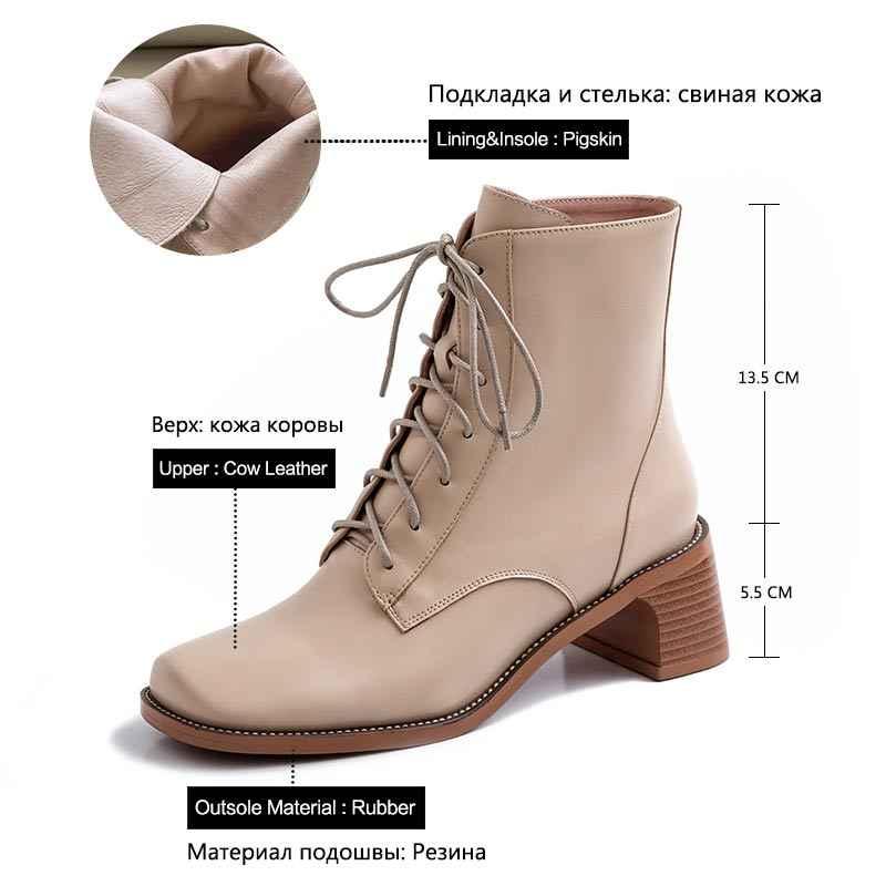 Donna-Ayak Bileği Yüksek Topuklu Çizmeler Kadın Zarif Çapraz Bağlı Kare Ayak lastik çizmeler Hakiki Deri moda ayakkabılar Kadın 2019 Yeni