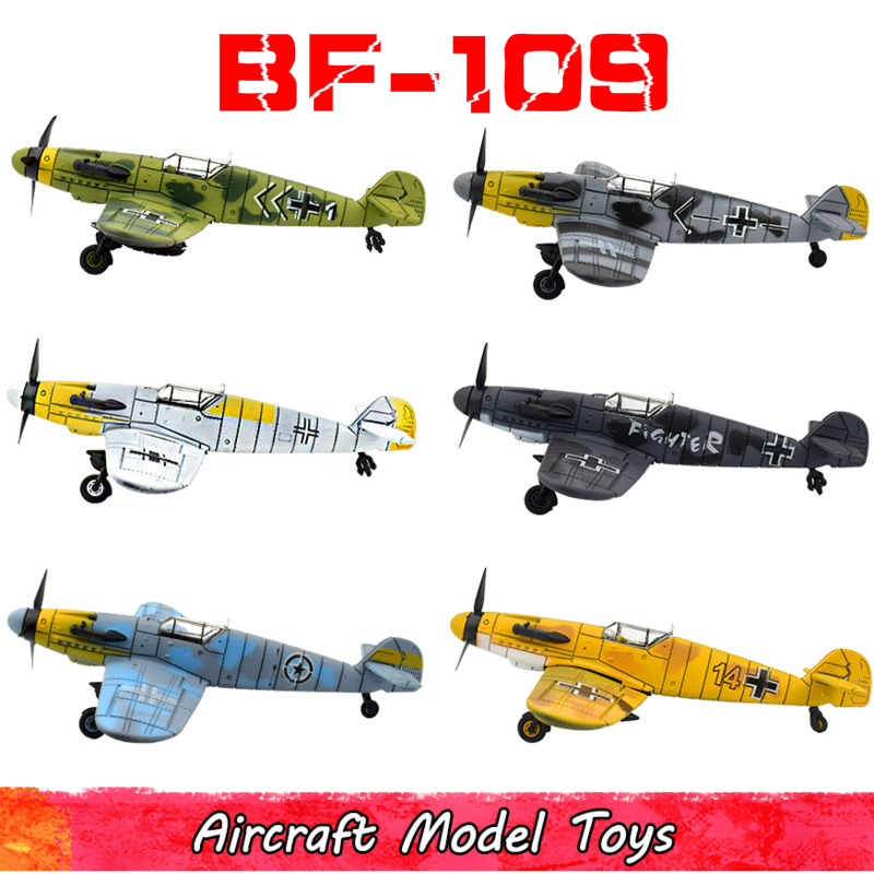 6Pcs 1/48 Scale Military BF-109 Fighter Model Kit Toys For Children DIY Assemble Airplane Diecast Toys For Boy Kids Brinquedos image