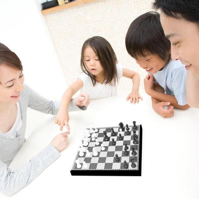 Jeu de dames de Backgammon magnétique d'échecs jeu de société pliable jeu d'échecs pliant International jeu de société Portable d'échecs 5