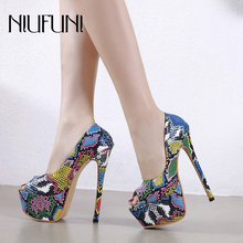 Sexy Peep Toe Snake Pattern Women's Pump Stiletto High Heels Shallow Waterproof Platform Women Shoes Color Matching Ladies Shoes недорого