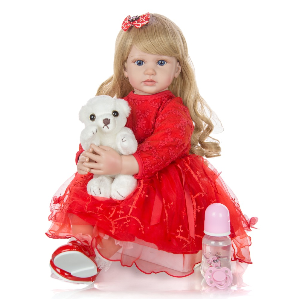 NPK <font><b>DOLL</b></font> 24 Inch Elegant <font><b>Reborn</b></font> Baby Girl <font><b>Doll</b></font> <font><b>60</b></font> <font><b>cm</b></font> Soft silicone Cloth Body Princess <font><b>Doll</b></font> Lifelike Boneca <font><b>Reborn</b></font> Kids gift image
