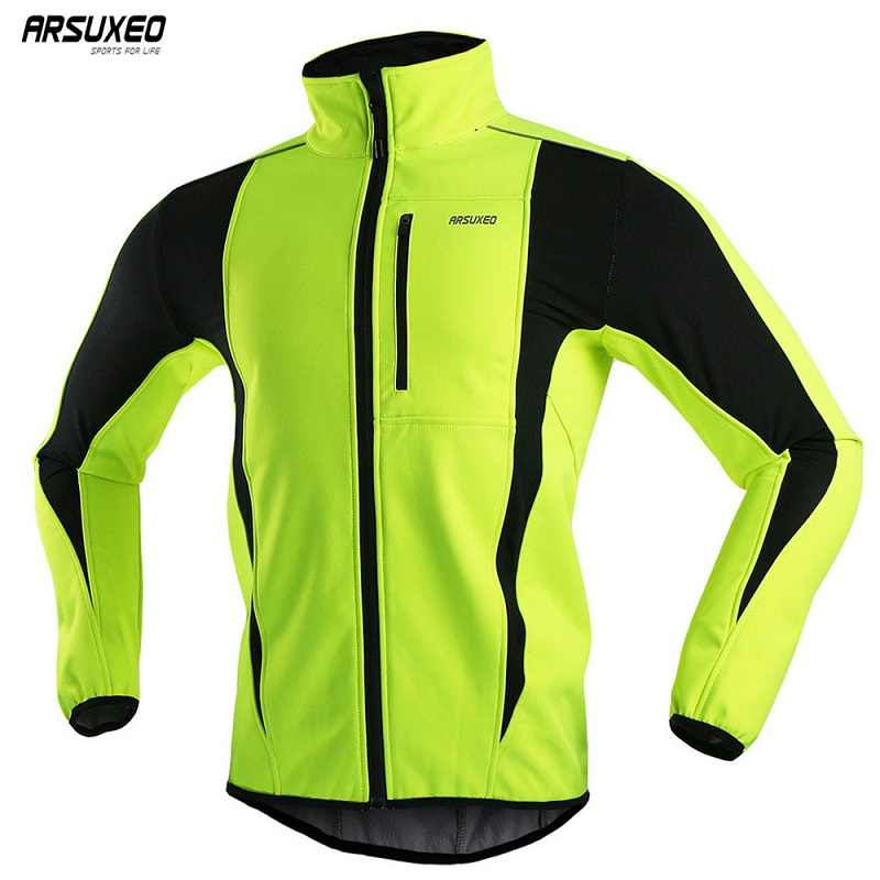 ARSUXEO Men's Winter Cycling Jacket Fleece Bike Jersey Windproof Waterproof Soft shell Coat MTB Bicycle Clothing Reflective 15K