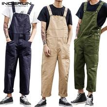Fashion Men Bib Pants Solid Jumpsuits Zipper Streetwear 2021 Joggers Multi Pockets Casual Suspenders Cargo Overalls Men INCERUN